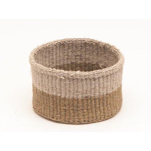 The Basket Room Chali Brown and Beige Sisal medium basket 09