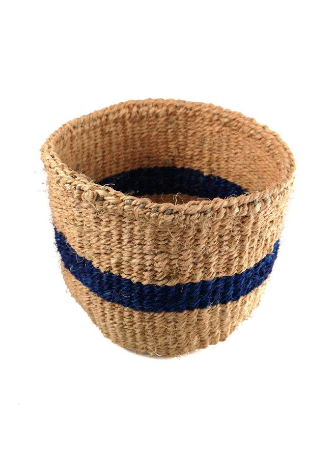 Fein gewebter blauer Streifen Sisal Xsmall baskekt 26