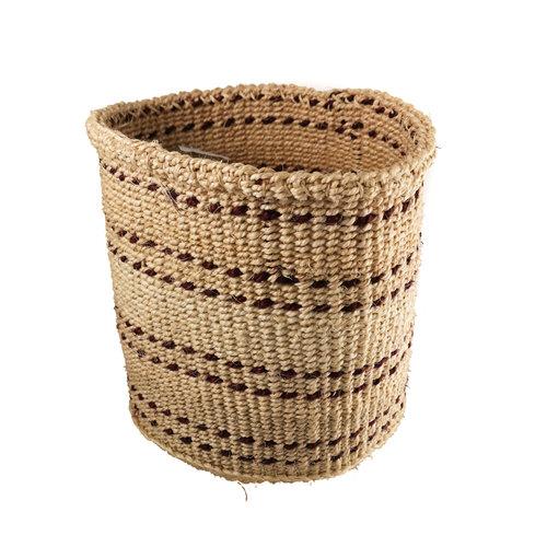 The Basket Room Fine weave dark red  stripe Sisal small  baskekt 30