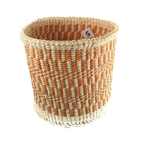 The Basket Room Fine weave orange grid  Sisal small  baskekt 28