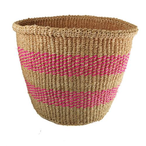 The Basket Room Fine weave pink  stripe medium Sisal  baskekt 32