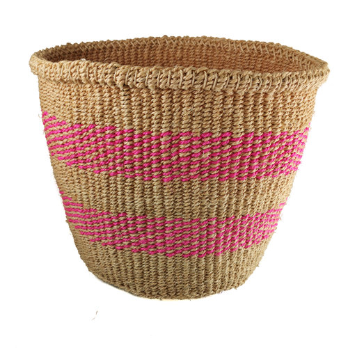 The Basket Room Tejido fino raya rosa medio Sisal baskekt 32