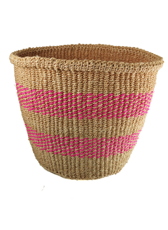 Fein gewebter rosa Streifen mittlerer Sisal baskekt 32