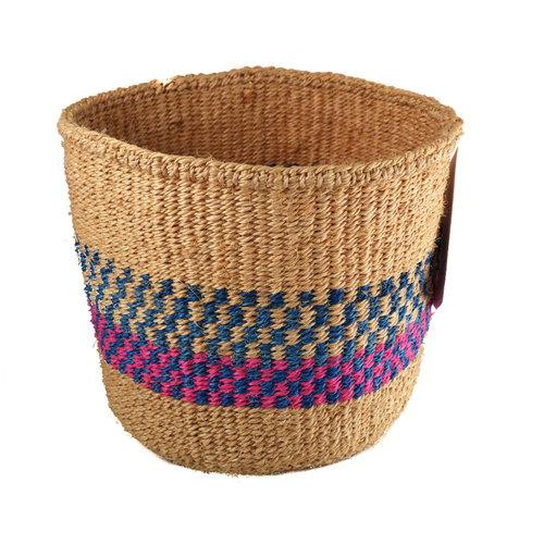 The Basket Room Fein gewebter Pink & Blue Grid Sisal kleiner Korb 29
