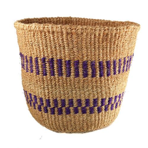 The Basket Room Fine weave Purple  stripe medium Sisal  baskekt 33