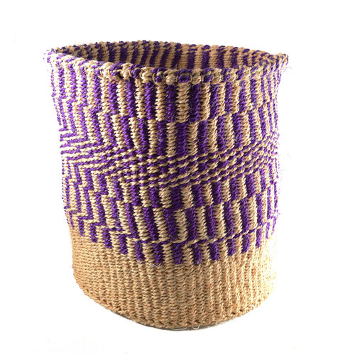 The Basket Room Fine weave Purple pattern large Sisal  baskekt 34