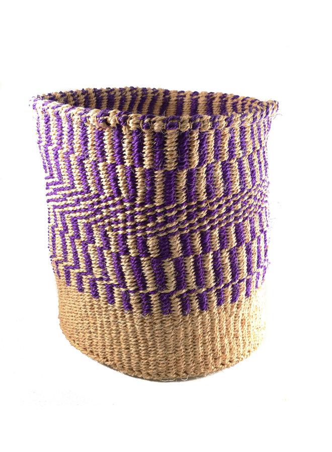 Fein gewebtes Lila Muster großer Sisal-Korb 34