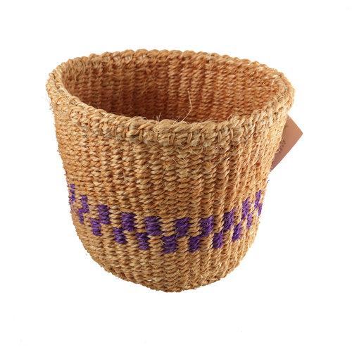 The Basket Room Fein gewebter lila Streifen Sisal Xsmall baskekt 27