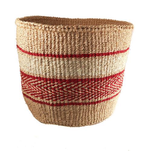 The Basket Room Fine weave Red pattern large Sisal  baskekt 35