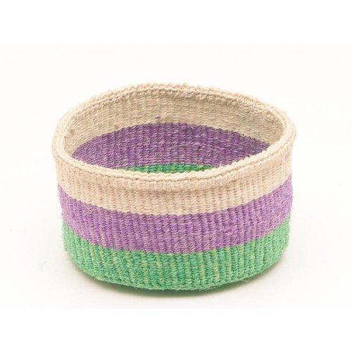 The Basket Room Hela Green and Purple Sisal medium basket 06