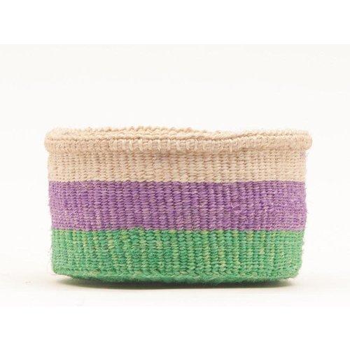 The Basket Room Hela Green and Purple Sisal small basket 05