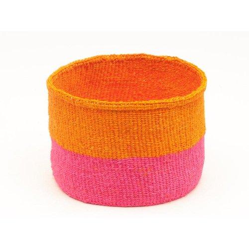 The Basket Room Kali Floro Orange and Pink Sisal small basket 11