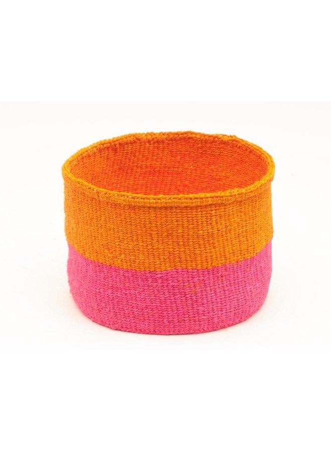 Kali Floro Orange und Pink Sisal kleiner Korb 11