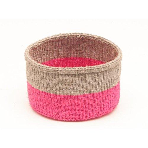 The Basket Room Maliza Biscuit and Florescent Pink sisal medium basket 03