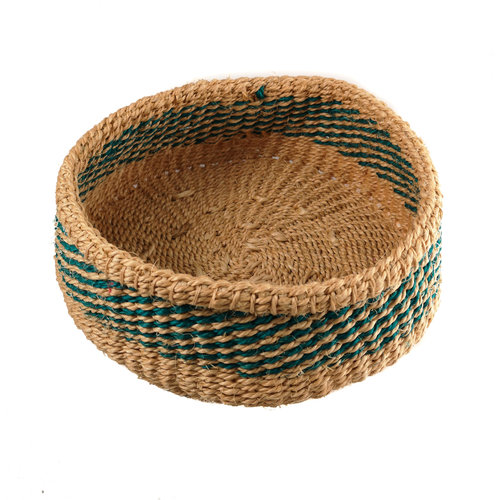 The Basket Room Simba  Green stripe grass hand woven  basket 18