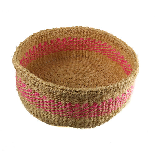 The Basket Room Mkate pink stripe grass hand woven  basket 13
