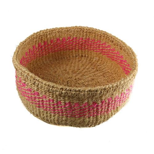 The Basket Room Simba pink stripe grass hand woven  basket 13