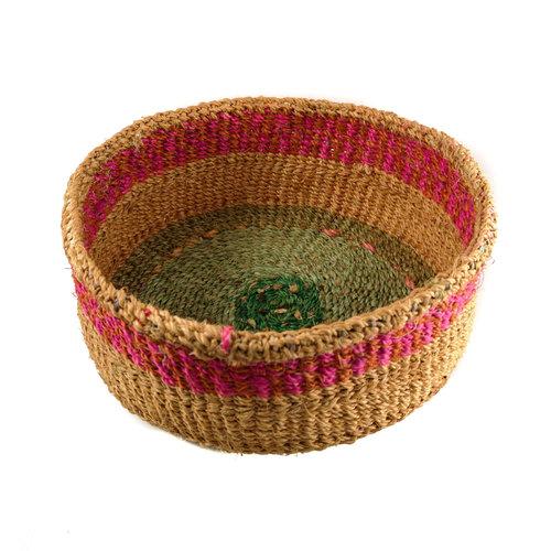 The Basket Room Simba  pink stripe grass hand woven  basket 14
