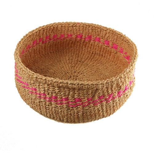 The Basket Room Simba  pink stripe grass hand woven  basket 15