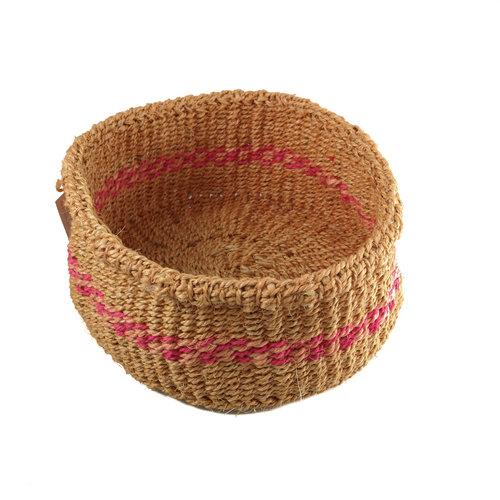 The Basket Room Simba Pink stripe grass hand woven  basket 22