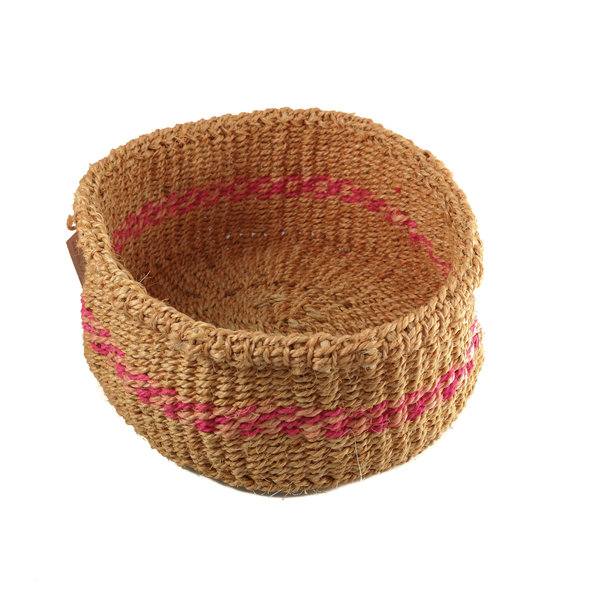 Mkate Rosa Streifen Gras handgewebter Korb 22