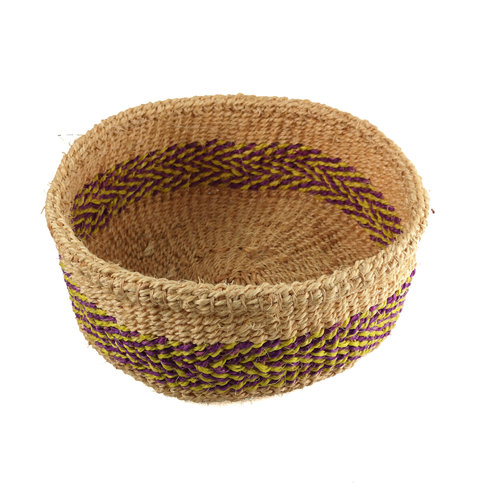The Basket Room Mkate Purple and yellow stripe grass hand woven  basket 21