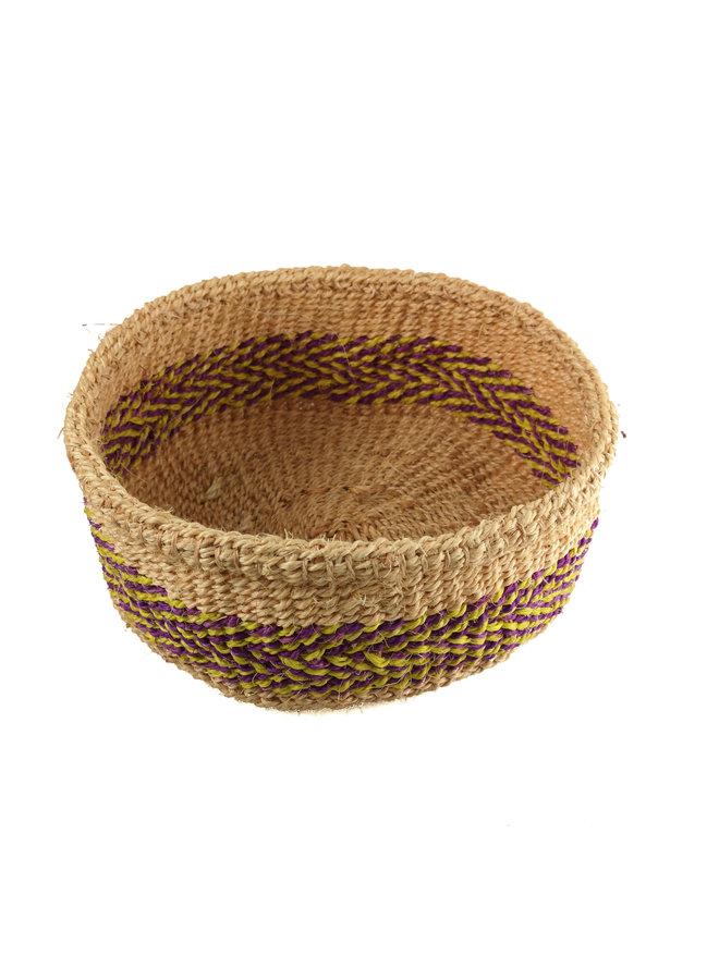 Mkate Purple and yellow stripe grass hand woven  basket 21