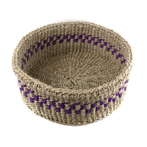 The Basket Room Simba Purple stripe grass hand woven  basket 19