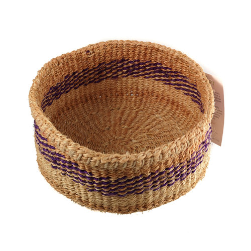 The Basket Room Simba Purple stripe grass hand woven  basket 20