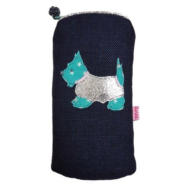 Glasses zip case appliqued Scottie dog navy 129