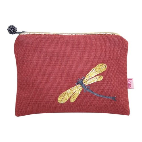 LUA Dragonfly embroidered Coin zip purse brick 151