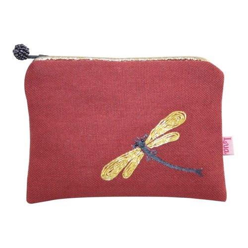 LUA Monedero de libélula bordado Monedero con cremallera ladrillo 151