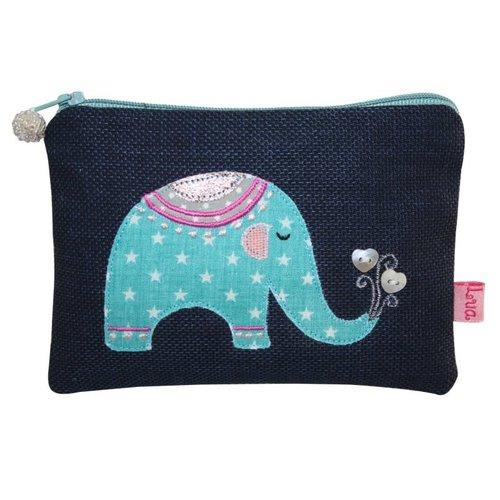 LUA Elephant appliqued zip purse navy 136