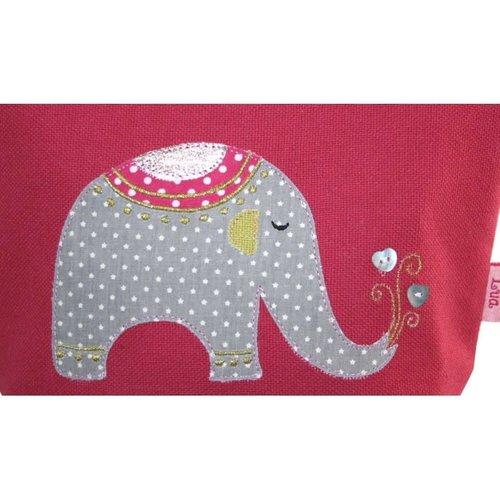 LUA Elephant appliqued zip purse pink 135