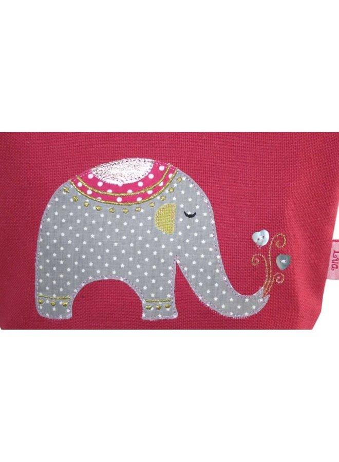 Geldbörse mit Reißverschluss und Elefantenapplikation, rosa 135