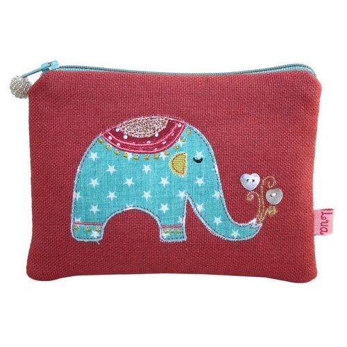 LUA Elephant appliqued zip purse rust 137