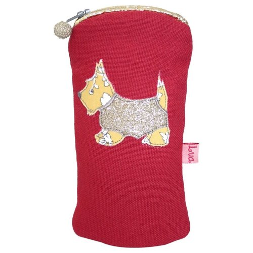 LUA Glasses zip case appliqued Scottie dog raspberry 161