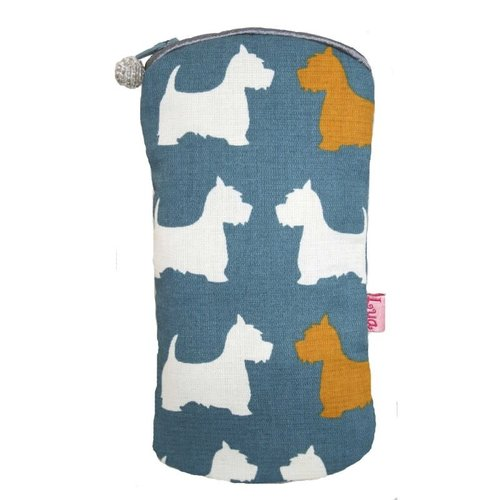 LUA Glasses zip case cotton Scotties slate 160
