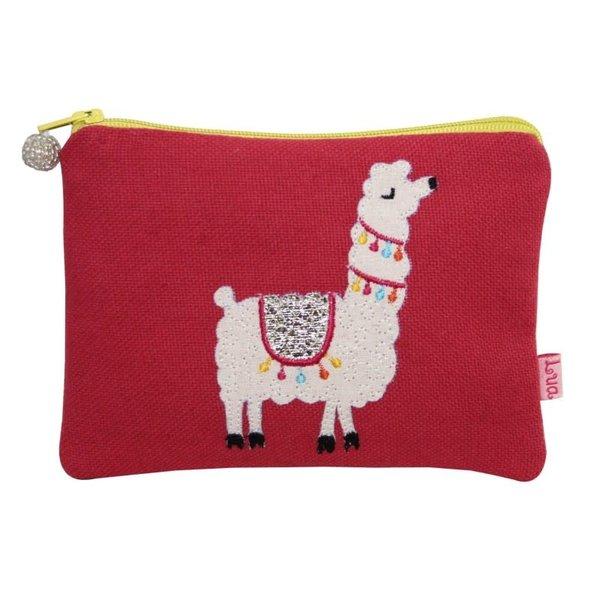 Llama  appliqued Coin zip purse raspberry109