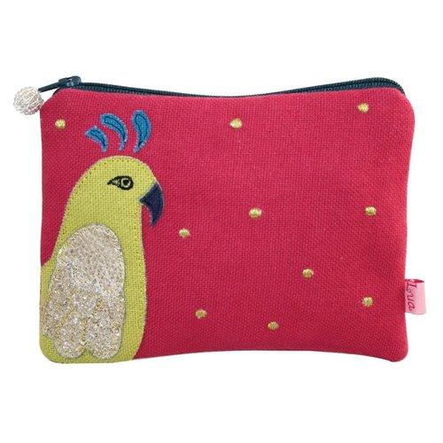 LUA Parrot appliqued zip purse raspberry 147