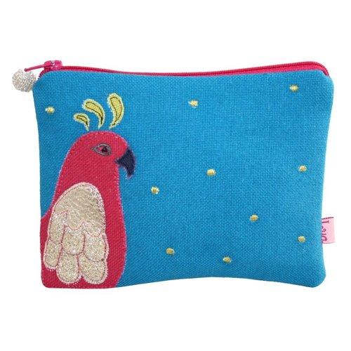LUA Parrot appliqued zip purse turquoise 146