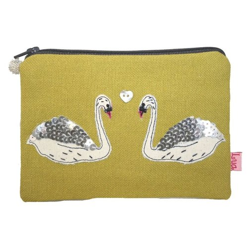 LUA Swans appliqued zip purse citrus 145
