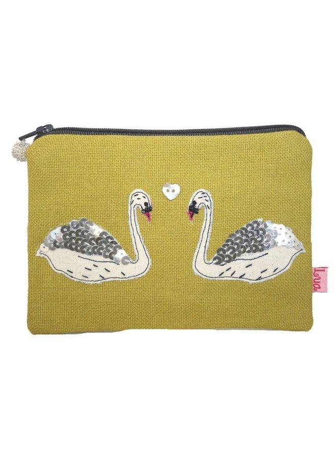 Swans appliqued zip purse citrus 145