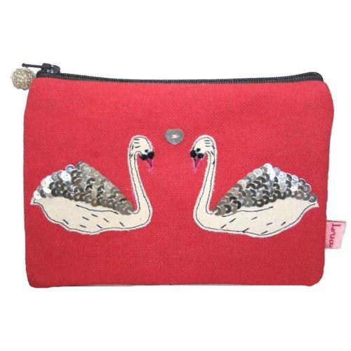 LUA Swans appliqued zip purse hot coral 144