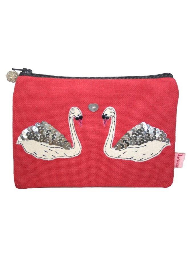 Swans applizierte Zip Geldbörse Hot Coral 144