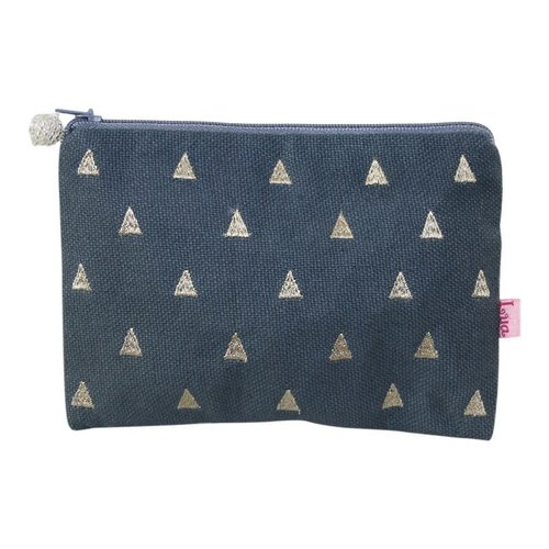 LUA Triangles embroidered Coin zip purse slate 152