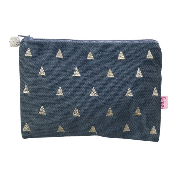 Triangles embroidered Coin zip purse slate 152