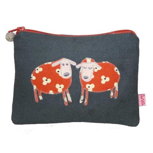 LUA Two Sheep appliqued zip purse grey 139