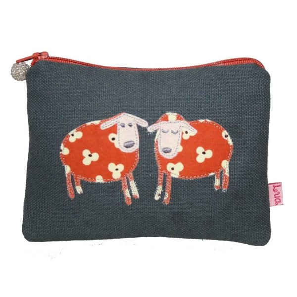 Two Sheep appliqued zip purse grey 139