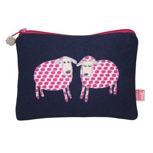 LUA Two Sheep appliqued zip purse navy 142